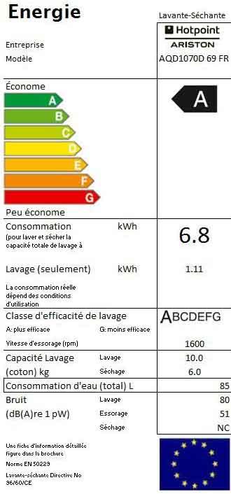 Hotpoint Ariston aqd1070d69 lave-linge 10 Kg - étiquette énergétique