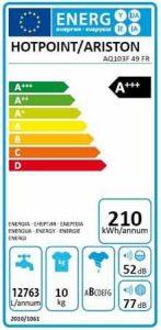lave linge HOTPOINT AQ103F49 AQUALTIS etiquette energetique