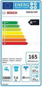 lave-linge Bosch WAE28172FF étiquette energetique