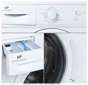 Machine à laver CONTINENTAL EDISON CELL560AP vue du panneau de commande + bac à produit