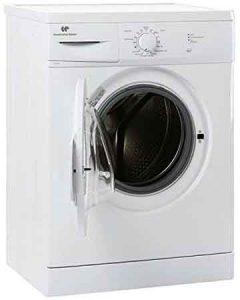 Machine à laver CONTINENTAL EDISON CELL560AP vue de 3/4 hublot ouvert