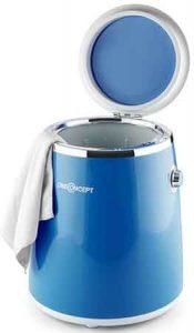 mini lave linge Oneconcept ecowash pico vue de face ouverte avec du linge