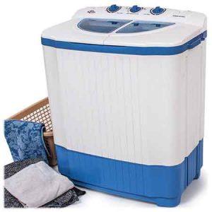 Mini machine a laver TecTake Vue de face avec du linge