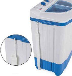 Mini machine a laver TecTake Vue de coté avec la vidange