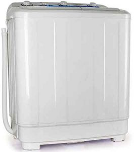 mini lave linge oneconcept DB005 XXL vue de 3/4 droite avec tuyau de vidange